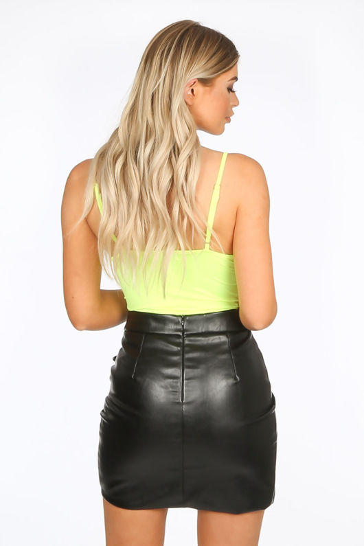 PU Buckle Front Mini Skirt