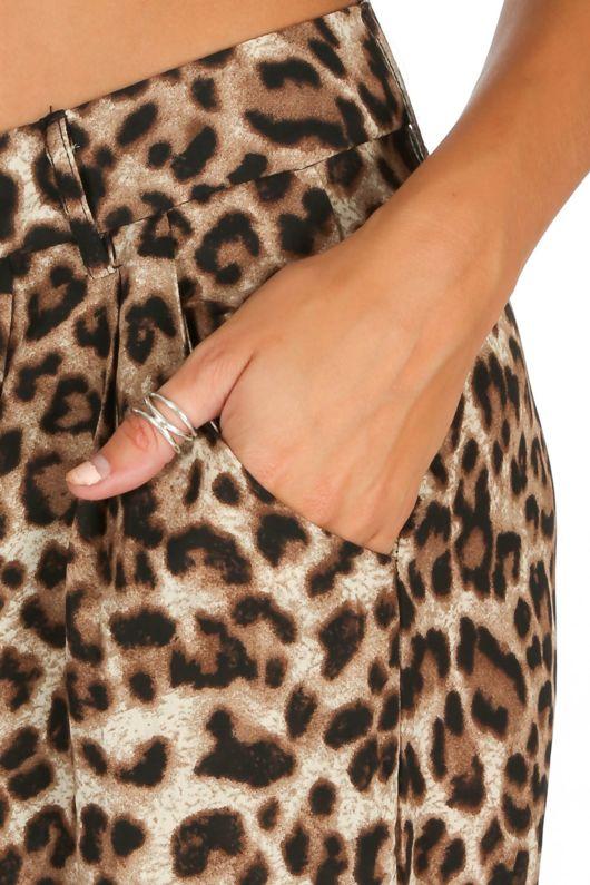 Leopard Print Chiffon Wide Leg Trouser