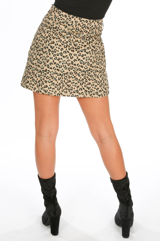Leopard Print Denim A-Line Mini Skirt