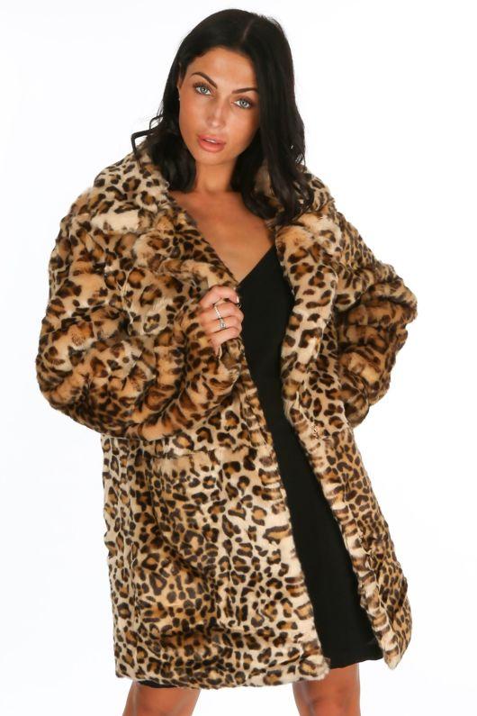 330cfba0b8b1 Leopard Print Faux Fur Coat