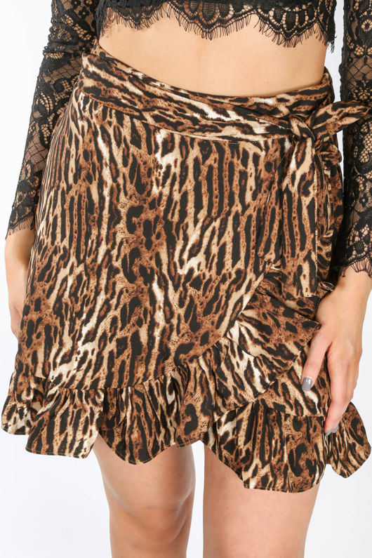 Leopard Print Tie Side Skirt