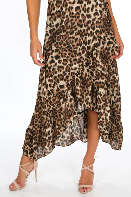 Leopard Print Frill Wrap Midi Dress