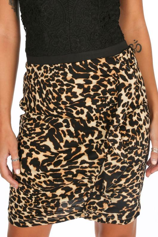Frill Front Leopard Print Mini Skirt