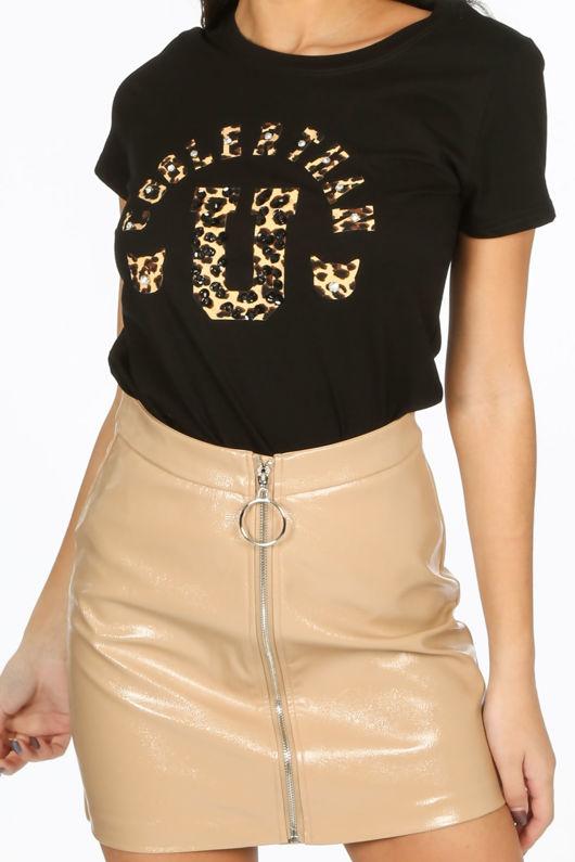 Black T-Shirt With Leopard Print Motif