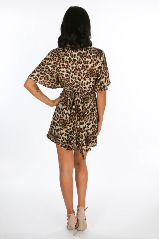 Leopard Print Tie Back Floaty Playsuit