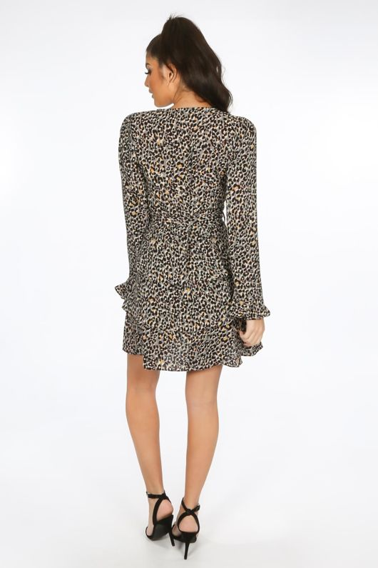 Grey Leopard Print Frill Wrap Look Dress