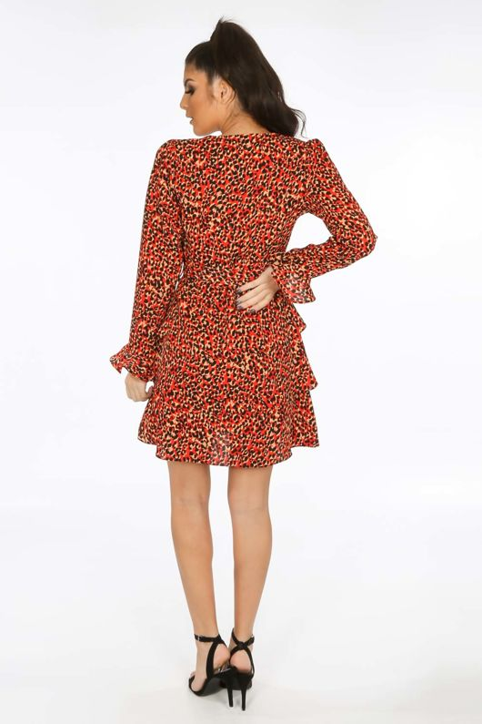Red Leopard Print Frill Wrap Look Dress