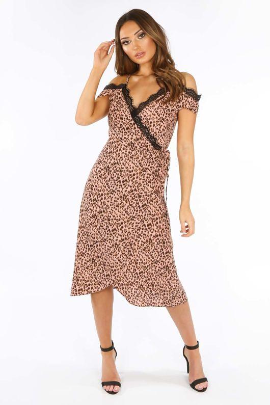 40abad526 Pink Leopard Print Wrap Dress With Lace Trim