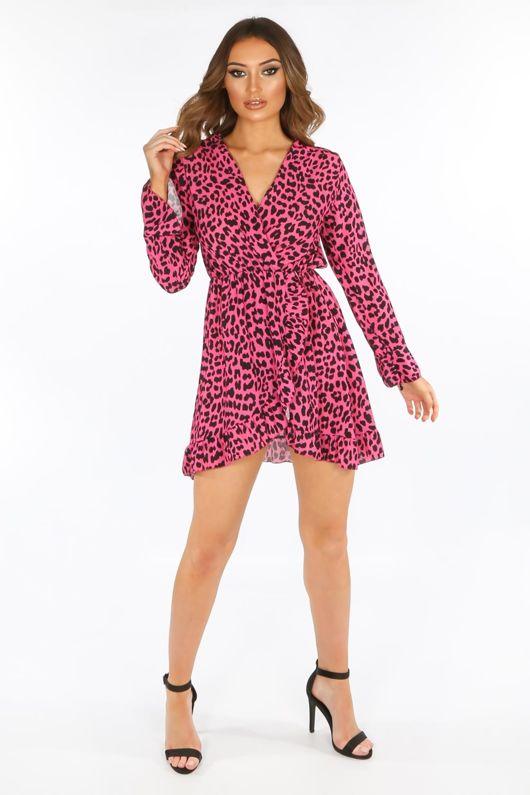 Leopard Print Wrap Look Mini Dress In Fuchsia