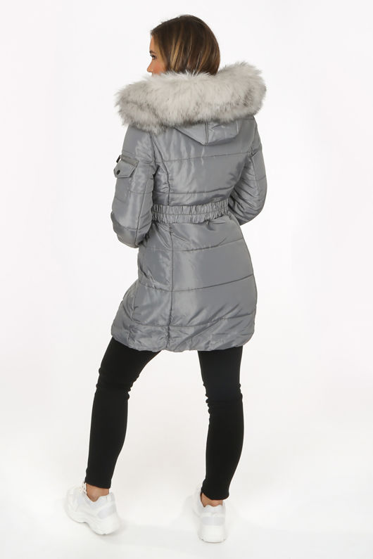 Grey Long Quilted Puffer Coat With Belt