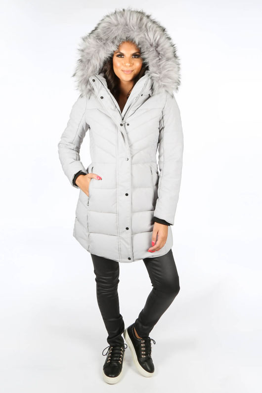 Grey Quilted Puffer Coat With Luxe Faux Fur