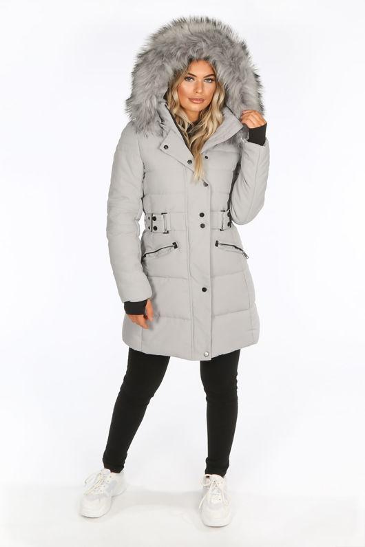 Grey Long Puffer Coat With Matching Faux Fur