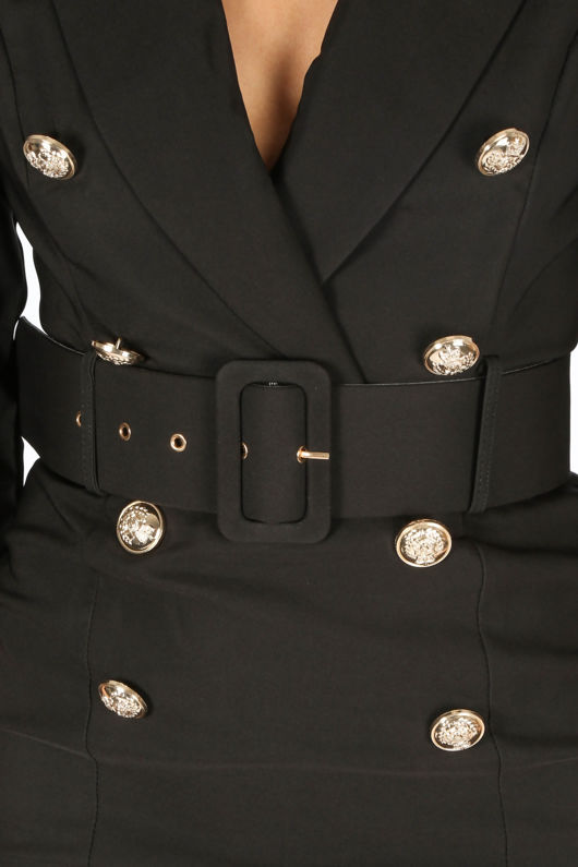ae13a772c14 Black Long Sleeve Belted Blazer Midi Dress