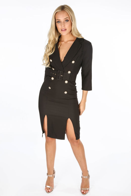 a4af2ed9bff4 Black Long Sleeve Belted Blazer Midi Dress