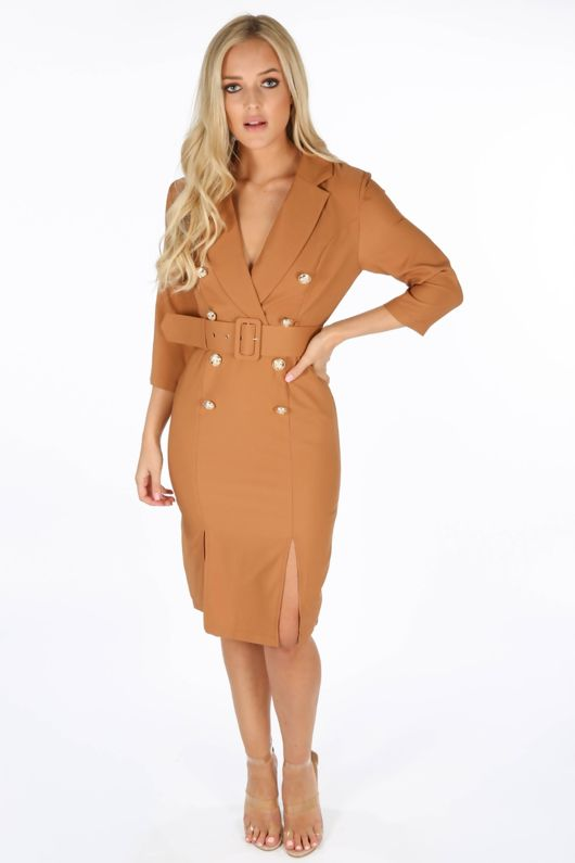 c98a1fd50b3 Camel Long Sleeve Belted Blazer Midi Dress