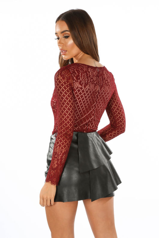 Long Sleeve Contrast Lace Bodysuit In Burgundy