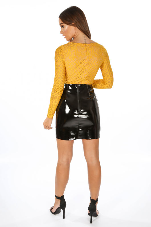Long Sleeve Contrast Lace Bodysuit In Mustard
