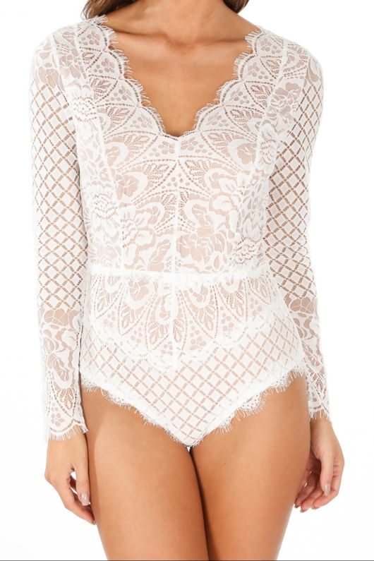 Long Sleeve Contrast Lace Bodysuit In White