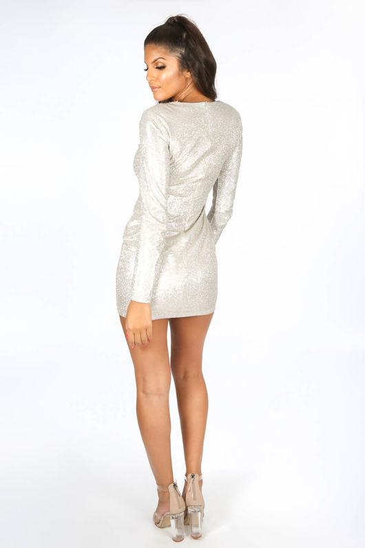 Long Sleeve Metallic Bodycon Dress In Gold