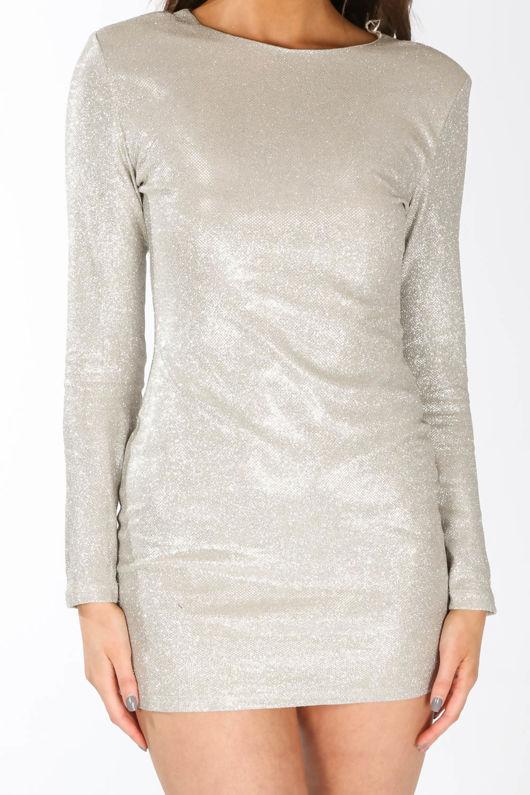 c1e8b1ba8cb9 Long Sleeve Metallic Bodycon Dress In Silver