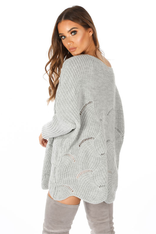 Grey Oversized Jumper Dress With Scallop Hem