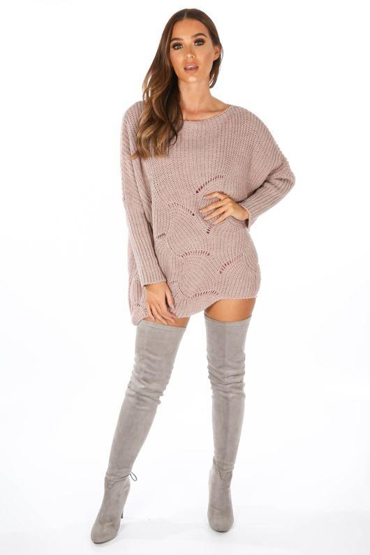 8745d96f52c78 Pink Oversized Jumper Dress With Scallop Hem