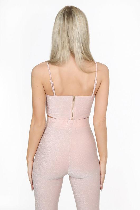 Blush Pink Glitter Lurex Curved Bralet