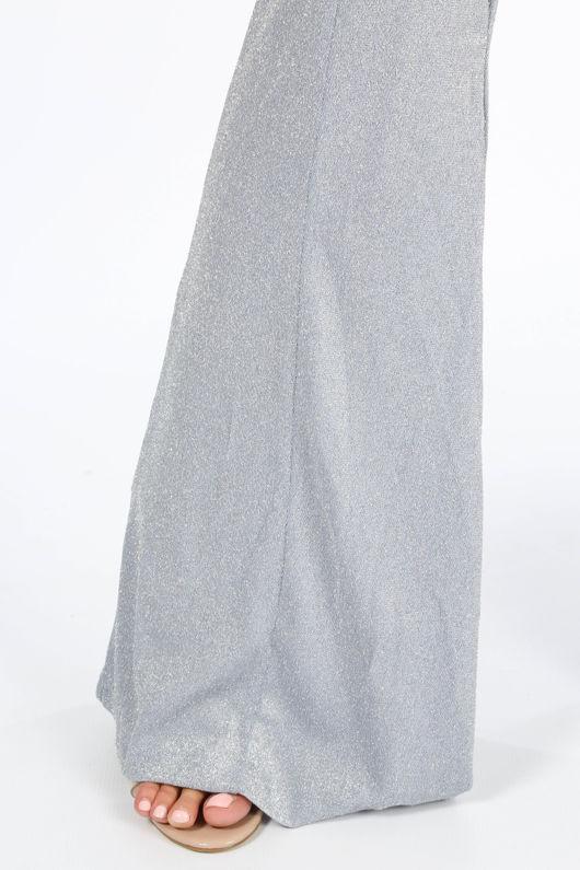 Lurex Flare Jumpsuit In Blue