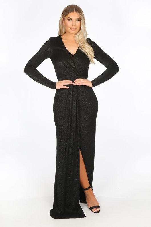 Black Long Sleeve Lurex Maxi Dress With Split