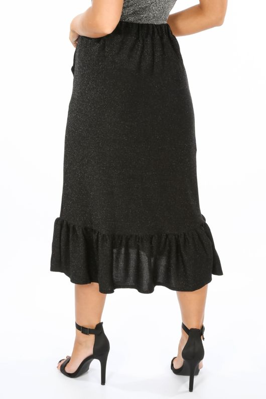 Lurex Frill Midi Skirt In Black