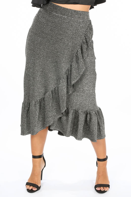 Lurex Frill Midi Skirt In Silver