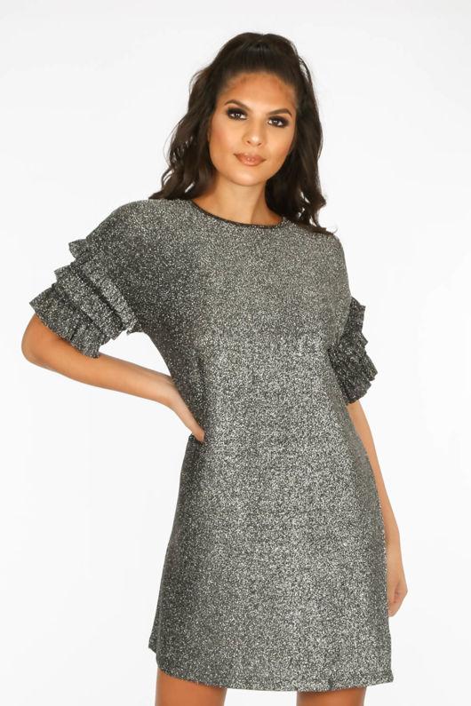231a30e2d79d Silver Lurex Frill Sleeve T-Shirt Dress