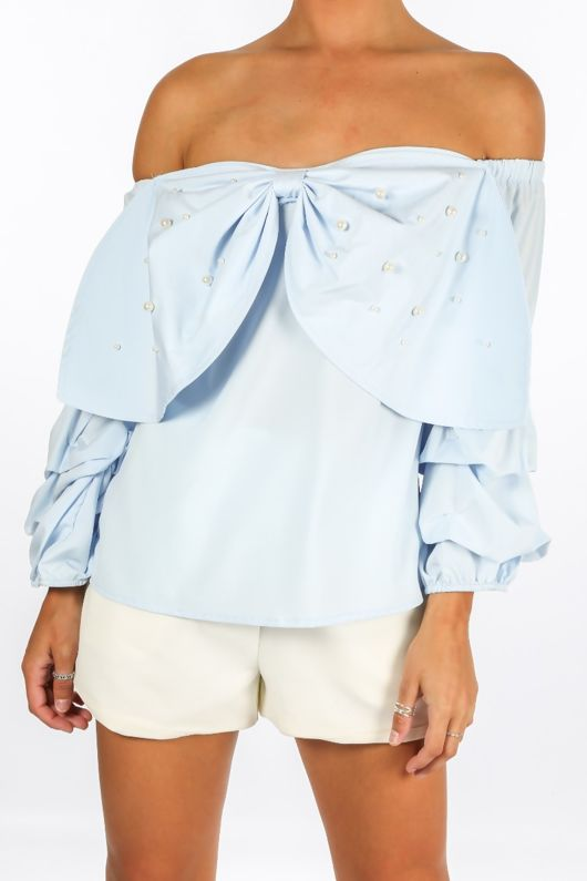 Blue Off The Shoulder Pearl Embellished Bow Front Top