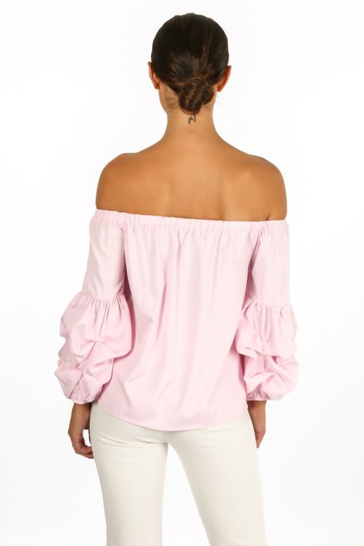 Pink Off The Shoulder Pearl Embellished Bow Front Top