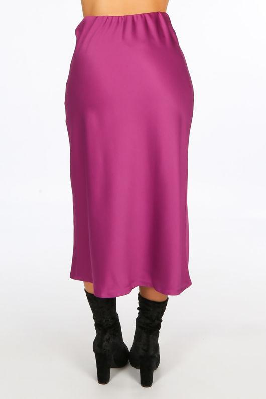 Magenta Satin Bias Midi Skirt
