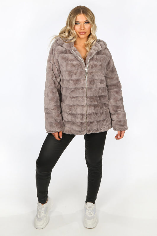 Grey Faux Fur Hooded Jacket
