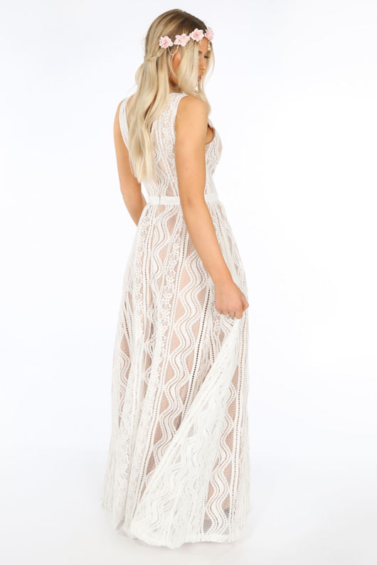 Contrast Lace Maxi Dress In White