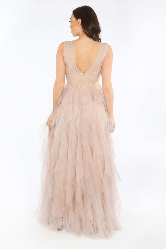 Lace & Ruffle Tulle Sleeveless Maxi Dress In Nude