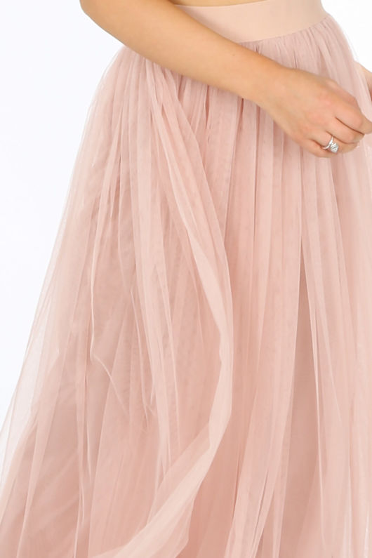 Full Length Maxi Tulle Skirt In Nude