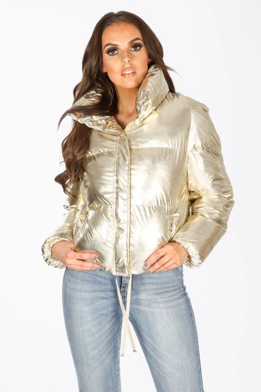 Gold Padded Bomber Jacket