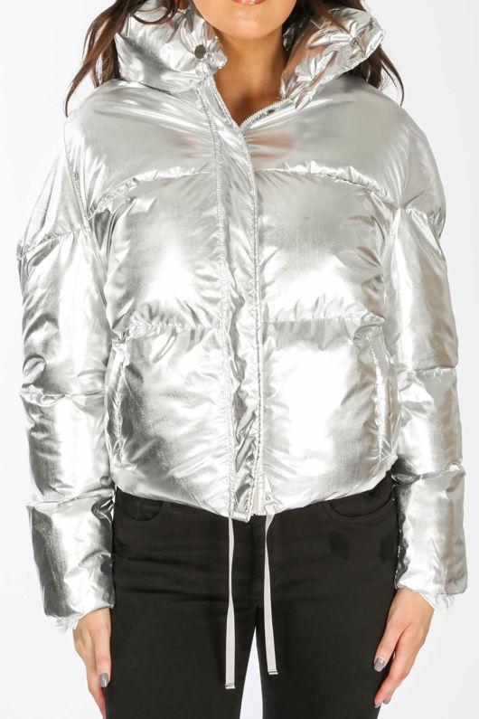 Silver Padded Bomber Jacket