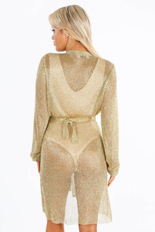 Metallic Knit Wrap Dress In Gold