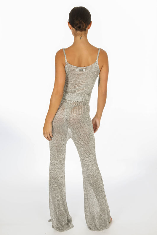 Metallic Knitted Crop Top & Trouser In Silver