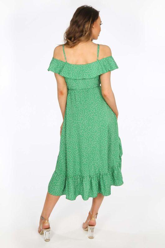 Green Polka Dot Print Cold Shoulder Wrap Dress