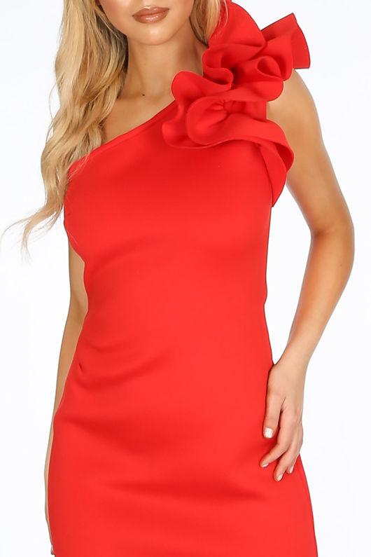 One Shoulder Ruffle Midi Dress In Red Neoprene