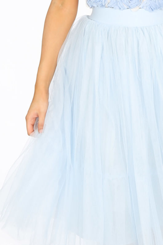 Midi Tulle Skirt In Blue