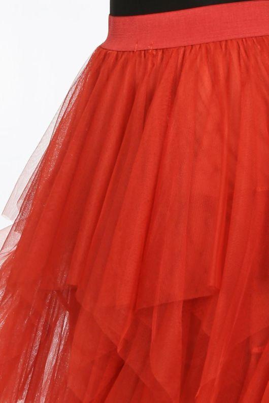 Draped Ruffle Tulle Skirt In Rust