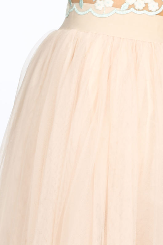 Midi Tulle Skirt In Beige
