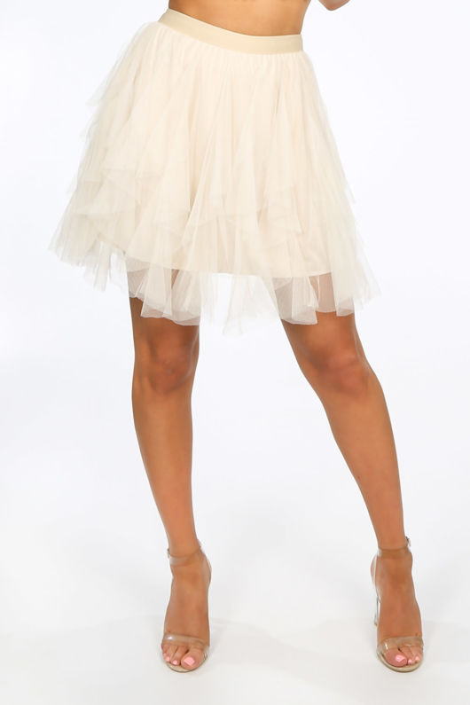 Ruffle Draped Mini Tulle Skirt In Beige