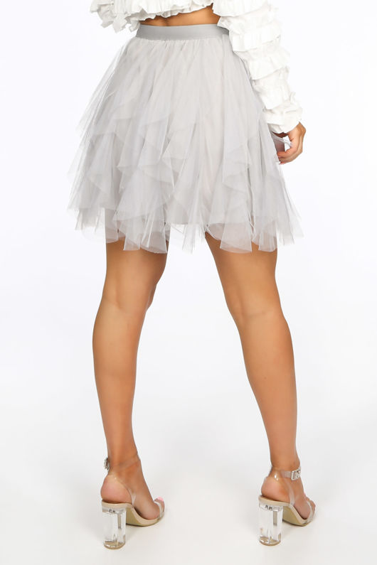Ruffle Draped Mini Tulle Skirt In Grey